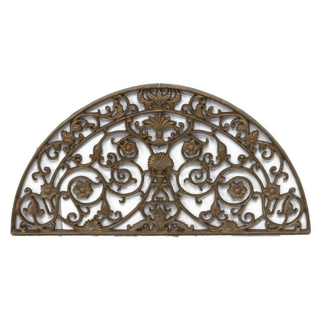 Farmhouse 1990s Vintage Architectural Painted Cast Iron Lunette Panel For Sale - Image 3 of 3
