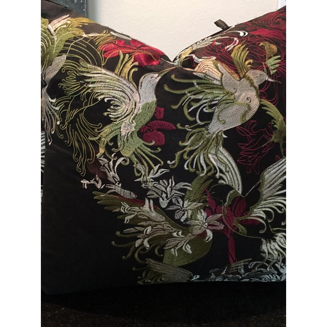 Pair of Rodeo Home Beverly Hills Embroidered Flora and Fauna Throw Pillows For Sale - Image 4 of 9