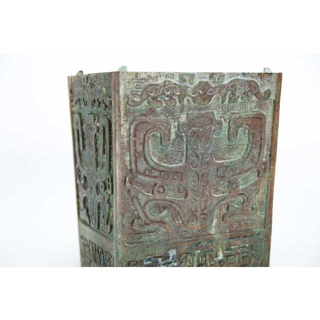 Turquoise 20th Century Chinese Lawrence & Scott Verdigris Bronze Wine Box For Sale - Image 8 of 9