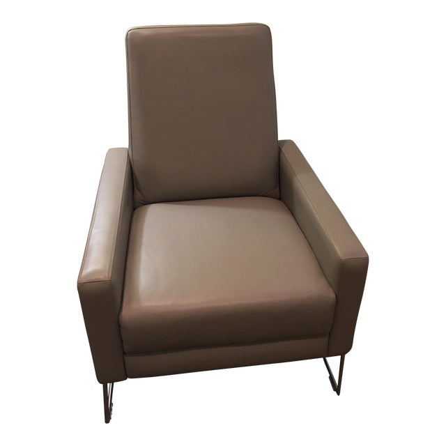 DWR Gray Leather Flight Recliner For Sale