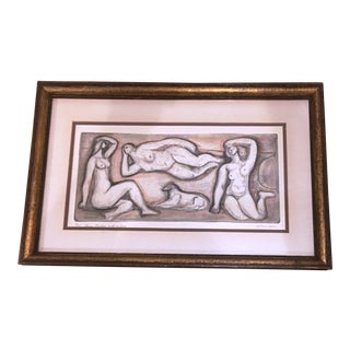 1960's Vintage Original Colored Etching by Irving Amen
