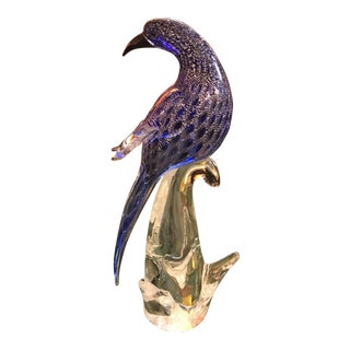 Murano Hand-Blown Art Glass Bird, Blue/Silver Flakes, Vintage For Sale