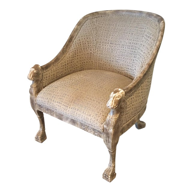 Neoclassical Lions Head Barrel Back Arm Chair For Sale