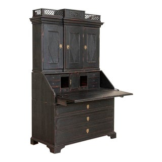 Antique Black Painted Secretary Bureau For Sale