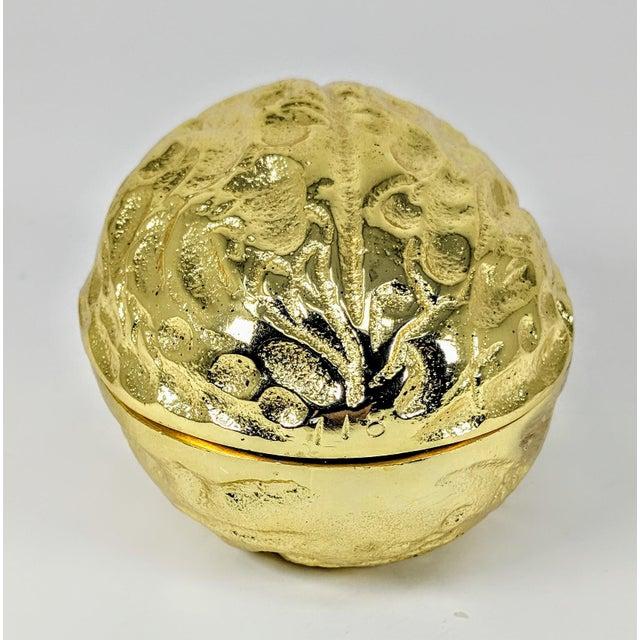 Mid-Century Modern Figurative Golden Metal Walnut Box For Sale - Image 3 of 9