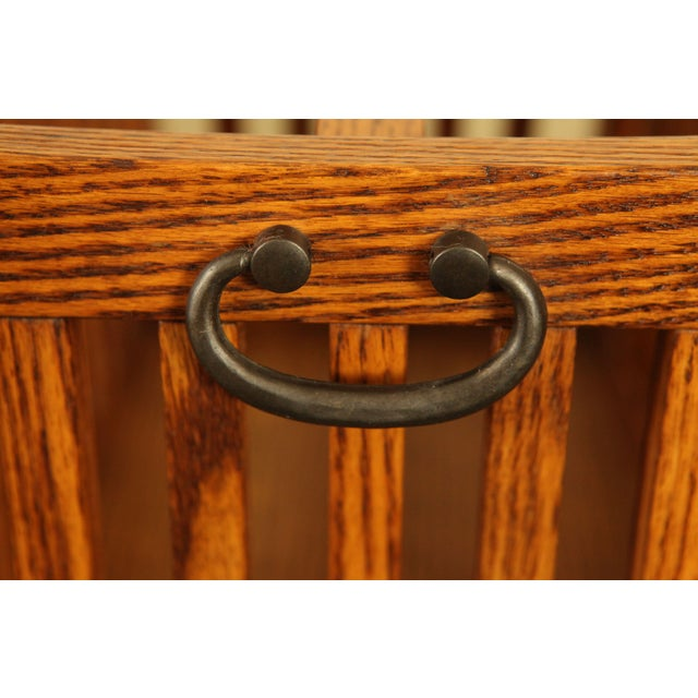 Mission Style Solid Oak Magazine Stand For Sale - Image 10 of 12