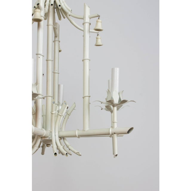 """Vintage Italian mid-century six light white tole bamboo chandelier. Rewired, some wear to the original paint. 29"""" Length..."""