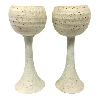 Artisan Stoneware Candle Holders - A Pair For Sale