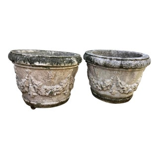 French Limestone Classical Planters - a Pair For Sale