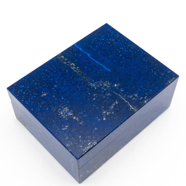 Contemporary Lapis Lazuli Box with Hinged Lid For Sale - Image 3 of 6