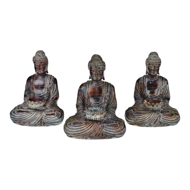 Vintage Asian Sitting Buddha Tealight Candle Holders For Sale