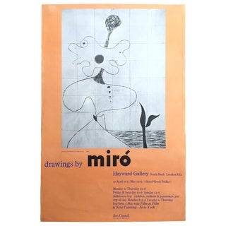 "Joan Miro Rare Vintage 1979 Hayward Gallery London "" Drawings by Miro "" Exhibition Poster For Sale"