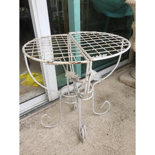 White Steel Mesh Coated Metal Demi-Lune Side Tables - a Pair For Sale In Miami - Image 6 of 6