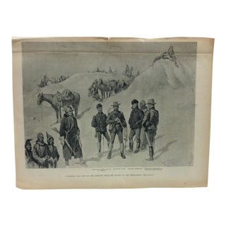 "Late 19th Century Antique Frederic Remington ""Watching the Dust of the Hostiles From the Bluffs of the Stronghold"" Harper's Weekly Print For Sale"