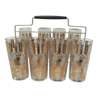San Diego 200 Year Anniversary 1769 to 1969 Commemorative Highball Glasses - Set of 8 + Caddy For Sale