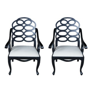Mid Century Caesar Arm Chairs Modern Geometric Chinoiserie - a Pair For Sale