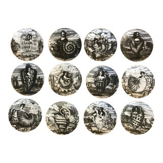 "1950s Complete Set of Fornasetti ""Le Oceanidi"" Plates - Set of 12 For Sale"