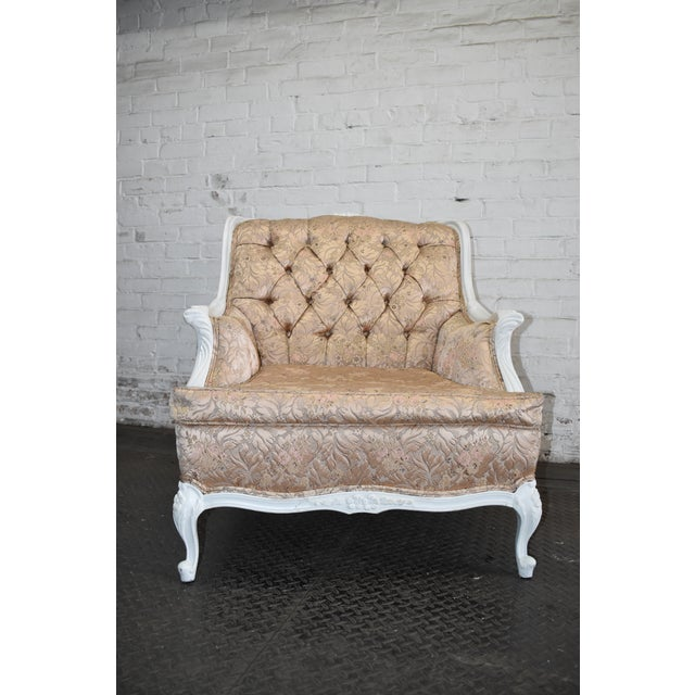 1950s 1950s Vintage French Blush Pink Brocade and White Armchair For Sale - Image 5 of 10