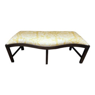20th Century Traditional Yellow Floral Wooden Bench