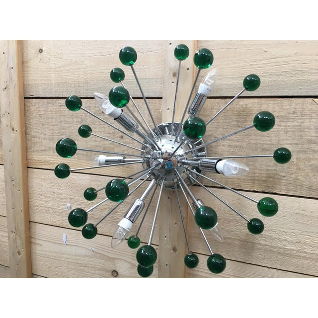 Murano Flush Mount Wall Sconce Murano Glass Sputnik Green Metal Frame in Color Kromo For Sale - Image 4 of 7