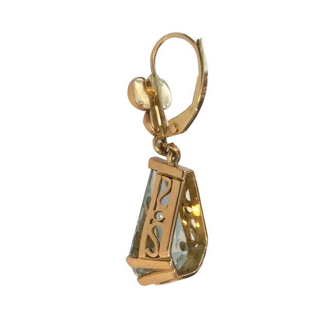Mid-Century Modern 14k Gold Retro Aquamarine Pierced Earrings Earrings - a Pair For Sale - Image 3 of 4