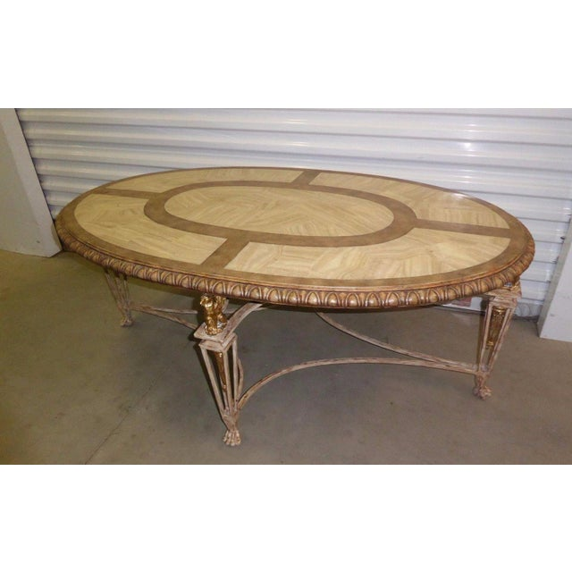 Oval Coffee Table Ireland: Vintage La Barge Carved Wood & Gilt Griffin Oval Coffee