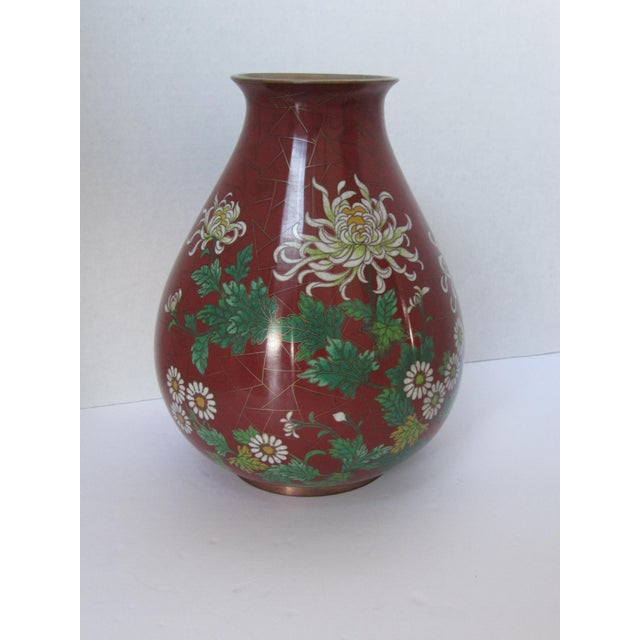 Vintage Cloisonné Vase with Flowers - Image 6 of 6