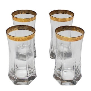 Gold Greek Key Tumblers - Set of 4 For Sale