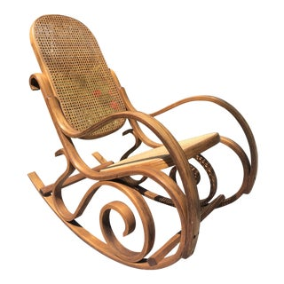 Vintage Mid Century Thonet Style Bentwood Rocking Chair For Sale
