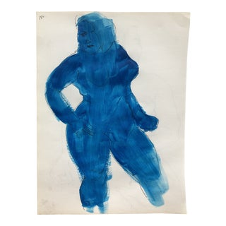 Mid-Century Modern Blue Painted Nude 1950s For Sale