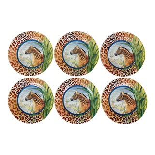 Vintage Gien France Savane Animal Print Canape or Dessert Plates - Set of 6 For Sale