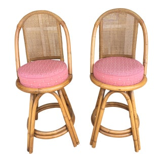1980s Traditional Rattan Counter Height Stools - a Pair