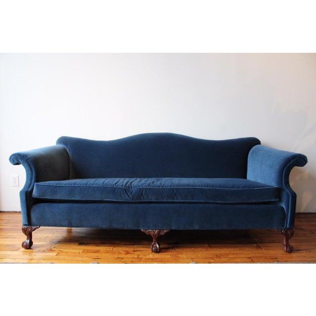 Cotton Vintage Navy Velvet Chippendale Sofa For Sale - Image 7 of 7