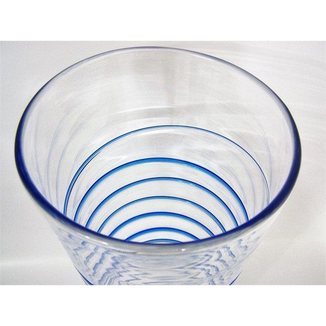 Blue Monumental Transparent & Blue Glass Vintage Blenko Vase Large Mid-Century Modern MCM For Sale - Image 8 of 10