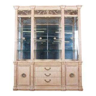 Bernhardt Mediterranean Style Lighted Breakfront Cabinet For Sale