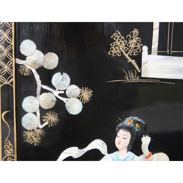Ebony Asian Wall Panels Depicting Chinese Performers or Geishas For Sale - Image 8 of 13
