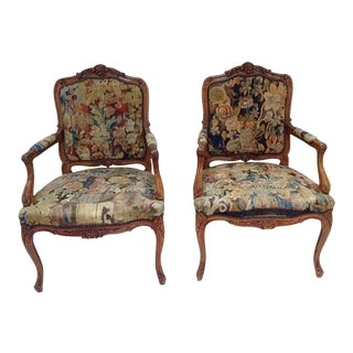 Antique French Tapestry Upholstered Chairs - A Pair