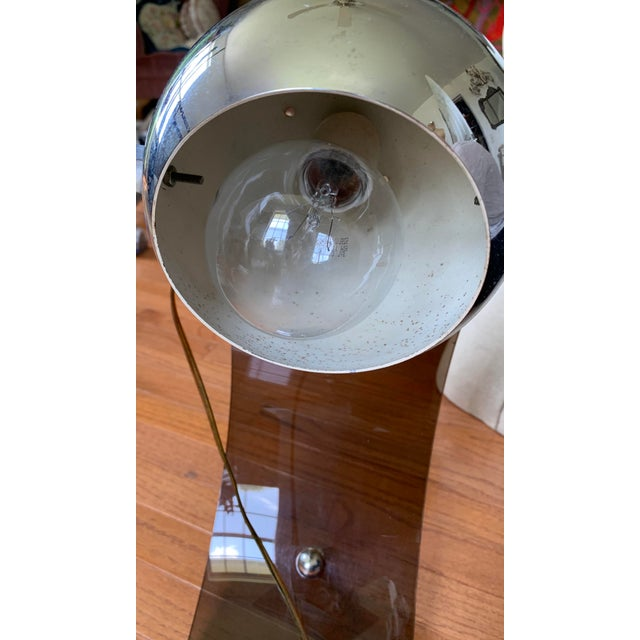 Vintage Smoked Lucite Eyeball Arc Lamp For Sale In Nashville - Image 6 of 8