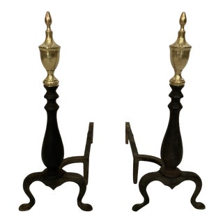 Antique Iron and Brass Fireplace Andirons - a Pair For Sale