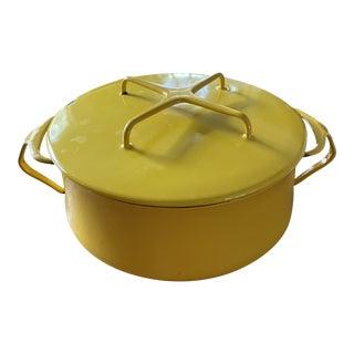 Vintage Dansk Kobenstyle Yellow Pot With Trivet Lid For Sale