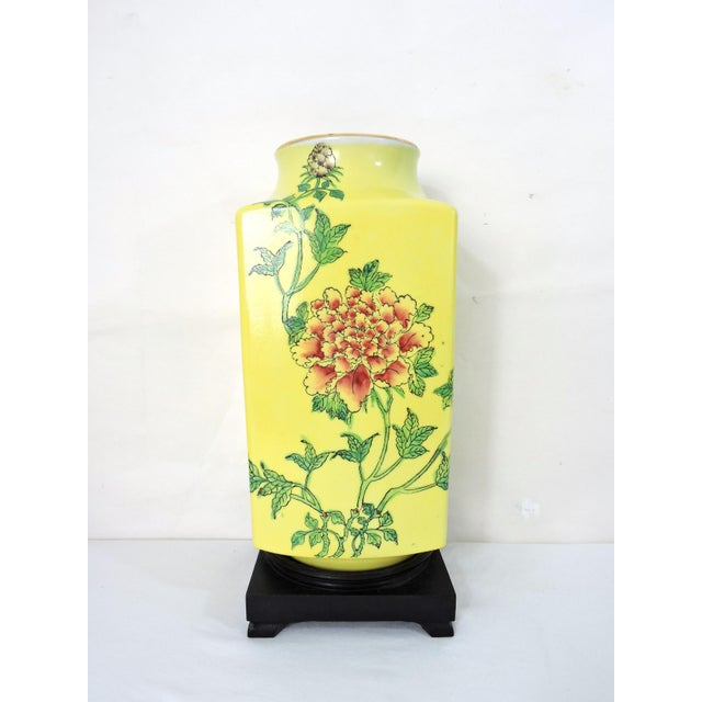 """Mid 20th Century Imperial Yellow Chrysanthemum """"Cong"""" Vase and Stand For Sale - Image 4 of 6"""