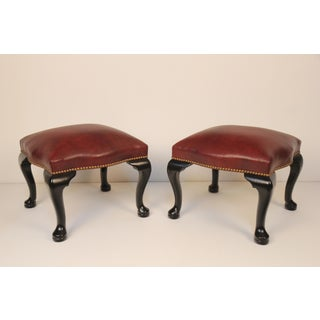 Black Lacquer & Burgundy Leather Benches - A Pair Preview