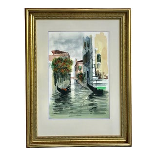 Vintage Watercolor Painting of Venice Italy Canal Flowers