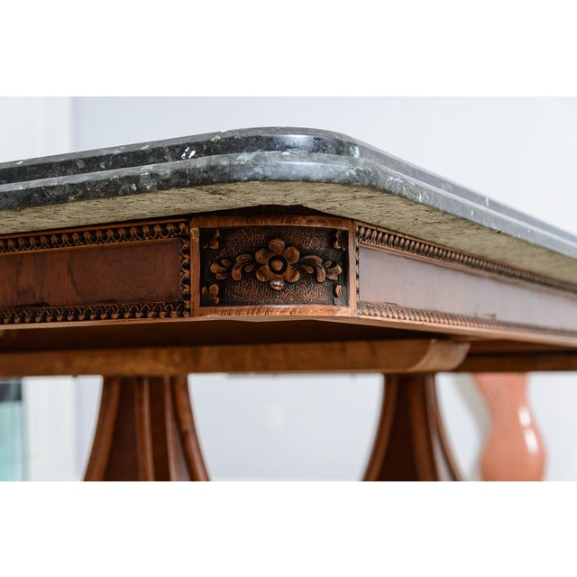 Hollywood Regency Regency Style Granite Top Oversize Library Table With Bronze Claw Feet For Sale - Image 3 of 12