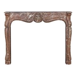 Antique Louis XV Rouge Marble Mantel For Sale