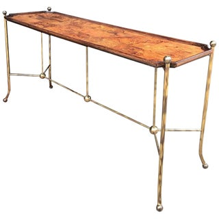Vintage Mid Century Brass and Burlwood Console Table For Sale