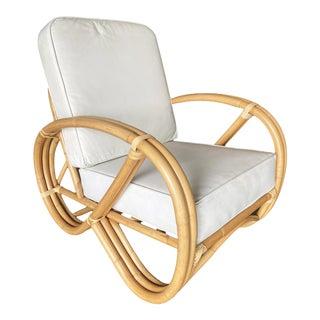 Restored 3/4th Three-Strand Round Pretzel Rattan Lounge Chair For Sale