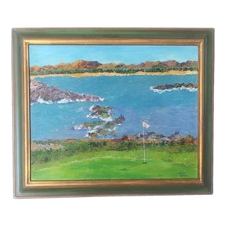 1960s Pebble Beach Golf Course Acrylic Painting by Helen Bauer, Framed For Sale