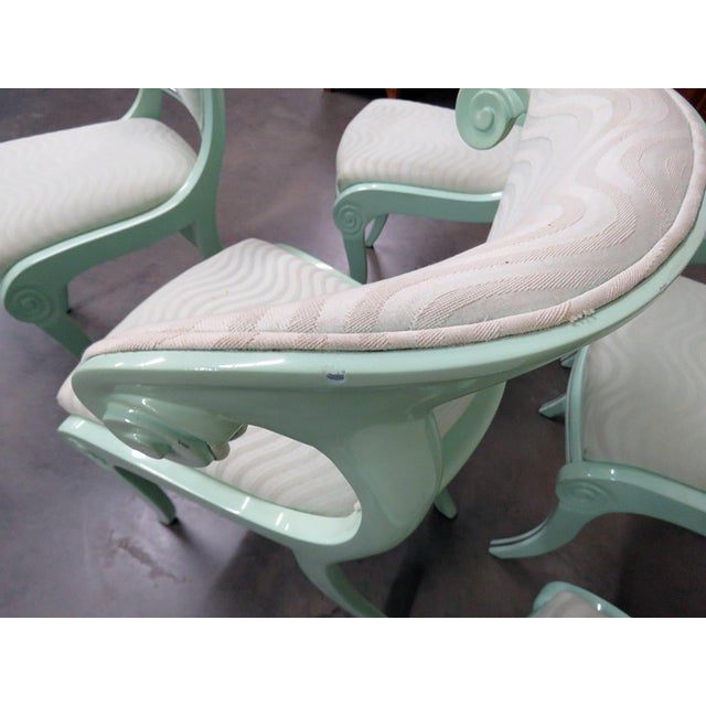 Metal Art Deco Teal Lacquered Side Chairs - Set of 6 For Sale - Image 7 of 8