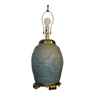 Hollywood Regency Cast Brass Ginger Jar Table Lamp For Sale